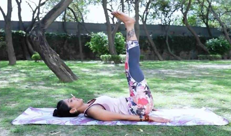 how to do sarvangasana steps 2 Half Plough Pose